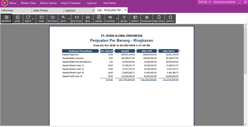 Modifikasi Laporan Easy Accounting System - 2