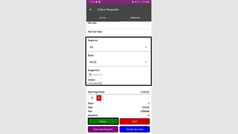 transaksi dengan project - easy mobile 4